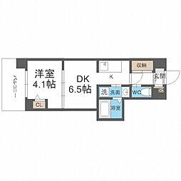 JR阪和線 我孫子町駅 徒歩6分の賃貸マンション 6階1DKの間取り