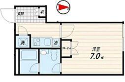 西武池袋線 桜台駅 徒歩6分の賃貸マンション 4階1Kの間取り
