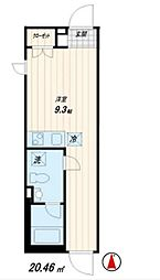 西武池袋線 桜台駅 徒歩6分の賃貸マンション 1階ワンルームの間取り