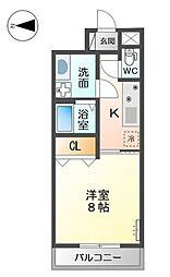 南海高野線 金剛駅 徒歩8分の賃貸マンション 1階1Kの間取り