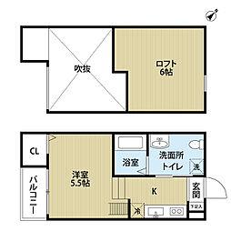 南海線 湊駅 徒歩9分の賃貸アパート 1階ワンルームの間取り