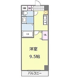 セブンレジデンス日本橋 6階1Kの間取り