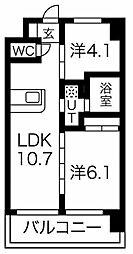 Osaka Metro堺筋線 天下茶屋駅 徒歩6分の賃貸マンション 3階2LDKの間取り