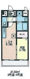 シェル新川 2階1LDKの間取り