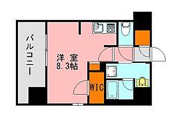 西鉄天神大牟田線 高宮駅 徒歩20分の賃貸マンション 7階ワンルームの間取り