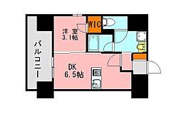 西鉄天神大牟田線 高宮駅 徒歩20分の賃貸マンション 12階1DKの間取り