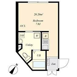 京王線 幡ヶ谷駅 徒歩4分の賃貸マンション 4階ワンルームの間取り