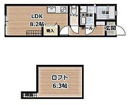アメニティ江波 1階ワンルームの間取り
