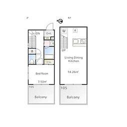 東急東横線 祐天寺駅 徒歩12分の賃貸マンション 地下1階1LDKの間取り