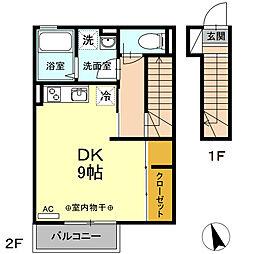 ハウス三生 2階ワンルームの間取り