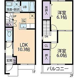 ルーチェ B 1階2LDKの間取り