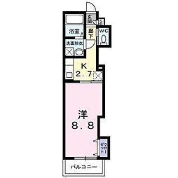 南海線 石津川駅 徒歩3分の賃貸アパート 2階1Kの間取り