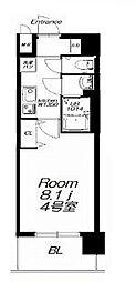 近鉄大阪線 今里駅 徒歩9分の賃貸マンション 4階1Kの間取り