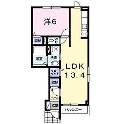 アルドールIII 1階1LDKの間取り