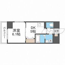 S-FORT福島EBIE 6階1DKの間取り