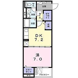 エミナール 2階1DKの間取り