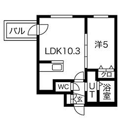 札幌市電2系統 中島公園通駅 徒歩6分の賃貸マンション 4階1LDKの間取り