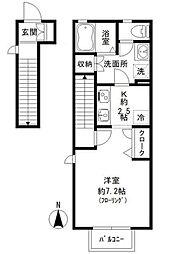 JR中央線 国立駅 徒歩8分の賃貸アパート 1階1Kの間取り