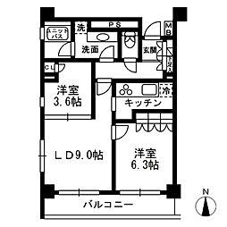 西武新宿線 下落合駅 徒歩5分の賃貸マンション 7階2LDKの間取り