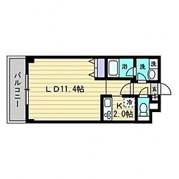 メゾン中野駅前 2階1Kの間取り