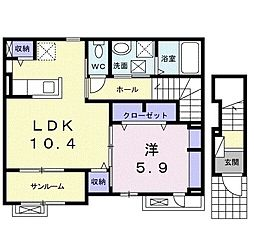 レーベ大和小泉 2階1LDKの間取り