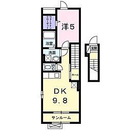グランドホープ参番館 2階1DKの間取り