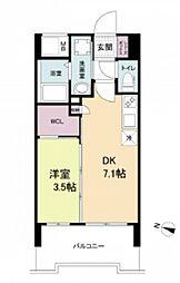 阪神本線 春日野道駅 徒歩6分の賃貸マンション 3階1DKの間取り