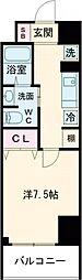 クラシエ四日市パークサイド 4階1Kの間取り