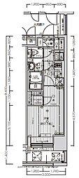 エスプレイス大阪ガルフレジデンス 12階1Kの間取り
