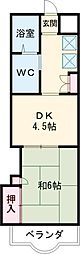 つかさ壱番館 5階1DKの間取り