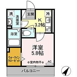 ジュネス東静岡 3階1Kの間取り