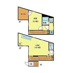 JR山手線 恵比寿駅 徒歩6分の賃貸マンション 2階1LDKの間取り