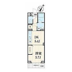 東急東横線 中目黒駅 徒歩5分の賃貸マンション 3階1DKの間取り