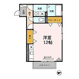 ミルテ 2階ワンルームの間取り