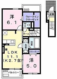 プラシード壱番館 2階2LDKの間取り