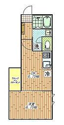JR総武線 三鷹駅 徒歩12分の賃貸アパート 1階1DKの間取り