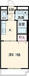 近鉄鈴鹿線 平田町駅 徒歩13分の賃貸マンション 2階1Kの間取り