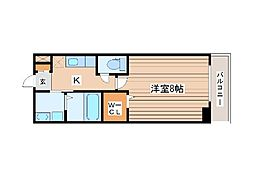 ウルス花京院A 3階1SKの間取り