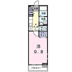 アーバンコート東甲府 II 2階1Kの間取り