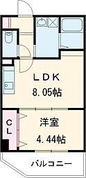 リバーサイド桂壱番館 1階1LDKの間取り