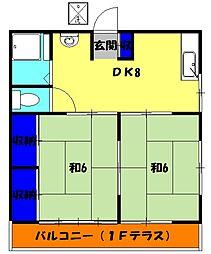 第三七国荘 1階2DKの間取り