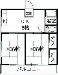 第三七国荘 2階2DKの間取り