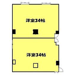 高萩駅前ビル 2階ワンルームの間取り