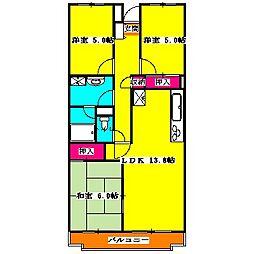 東武東上線 新河岸駅 徒歩3分の賃貸マンション 2階3LDKの間取り