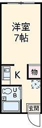 JR東海道本線 岐阜駅 バス34分 高桑下車 徒歩5分の賃貸マンション 2階ワンルームの間取り