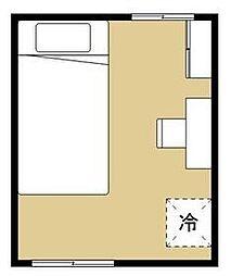 ヒッポハウス桜 2階1Kの間取り