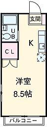 JR中央線 国立駅 徒歩6分の賃貸マンション 4階ワンルームの間取り