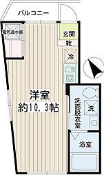 リチェンシア横浜反町 4階ワンルームの間取り