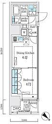 JR山手線 大崎駅 徒歩7分の賃貸マンション 8階1DKの間取り