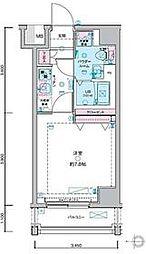 JR山手線 田町駅 徒歩12分の賃貸マンション 8階1Kの間取り